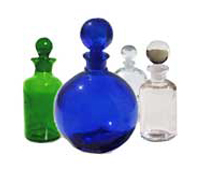 Blue, Green and Clear Apothecary Style Bottles for Essential oils and Perfumes