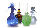 Large Blue, Green and Clear Decorative Perfume Glass Bottles